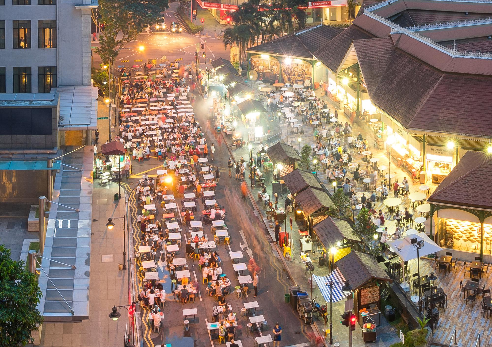 Satay Street Singapore - Ariel View