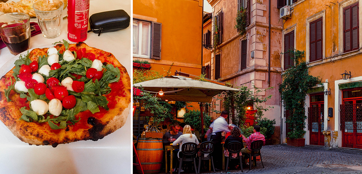 Trastevere street and Dar Poeta Pizza