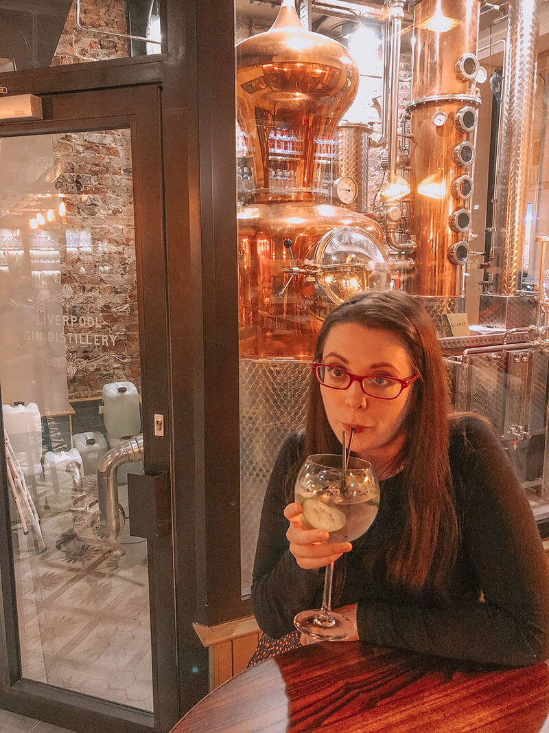 Drinking in Liverpool Gin Distillery