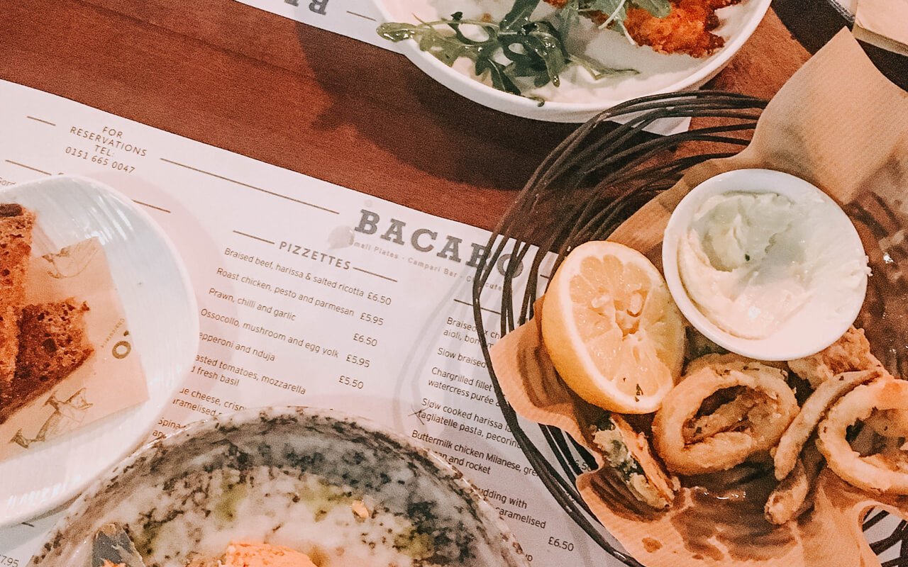 bacaro liverpool selection of food