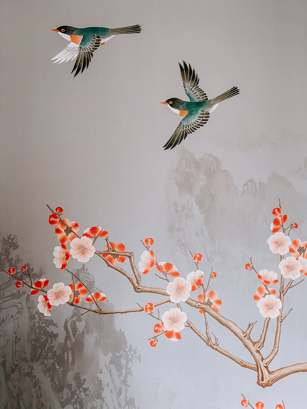 Photowall wallpaper Birds heights - Pearly bird and blossom closeup